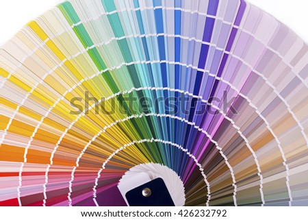 color palette, catalog with design paint samples - stock photo