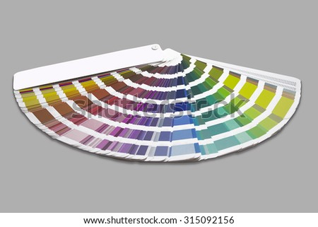Color palette guide isolated on gray background. Pantone colors. - stock photo