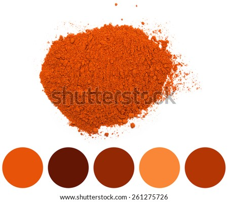 Color Palette Of Red Kashmiri Chili Powder Pile - stock photo