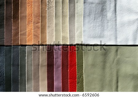 Color palette sample picker of leather material - stock photo