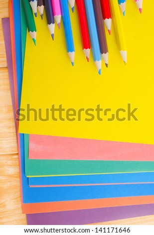 color paper and pencils - stock photo