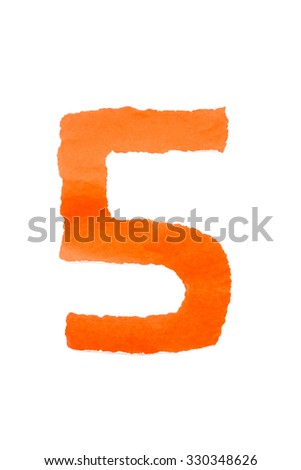 color paper digit number five