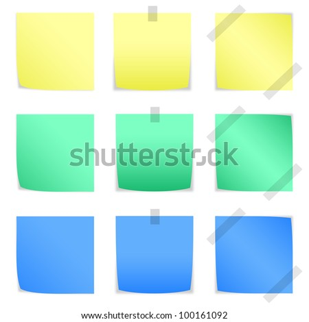 color paper notes and stickers on white background