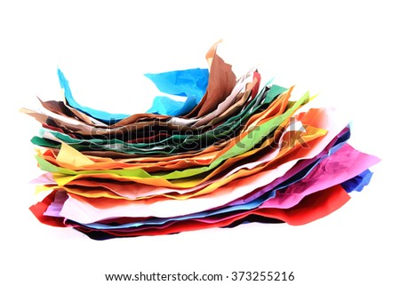 color papers stack isolated on the white background - stock photo