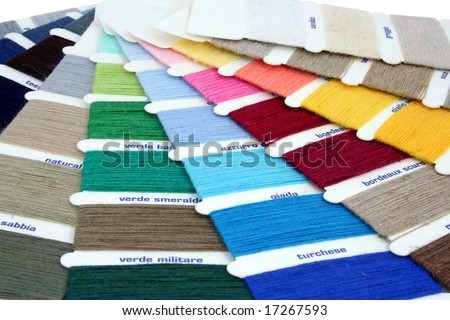 Color pattern cotton yarns,macro. - stock photo