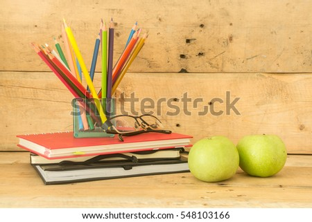 Color pencil and note book with wood