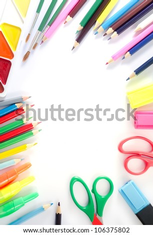 color pencil and paint - stock photo
