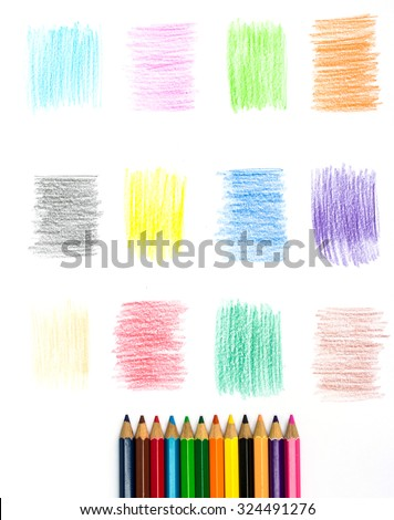 Color pencil and Set of color pencil design elements - stock photo