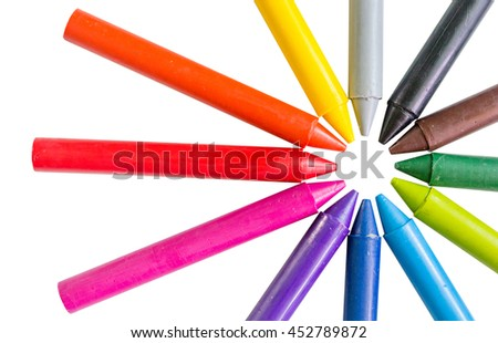 Color  pencil 12 color black brawn green lightgreen blue lightblue violet pink red orange yellow gray on paper using crayons for children. background on white - stock photo