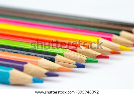 color pencil, colorful kids school artist concept.