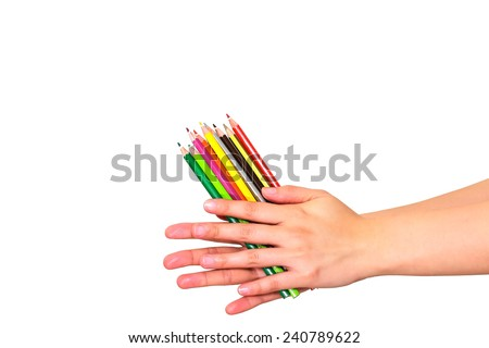 color pencil on hand  - stock photo