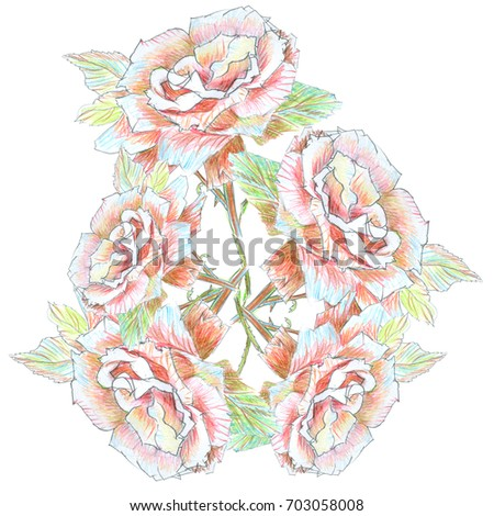 Color Pencil Roses Floral PrintBouquet Of Five Hand Drawn Colorful Flowers Red