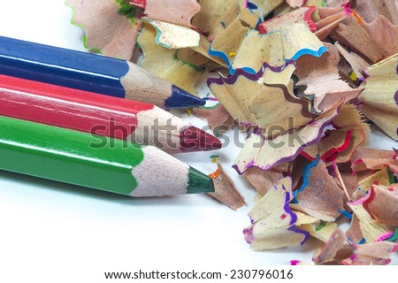 Color pencil shave macro - stock photo