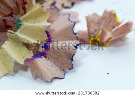 Color pencil shaves macro background - stock photo