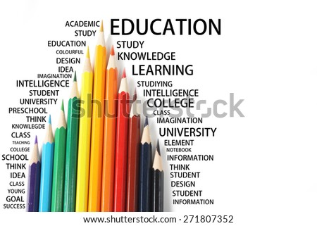 Color pencil with education concept wording - stock photo