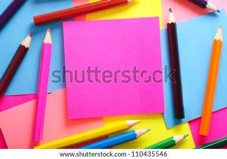 color pencils and note - stock photo