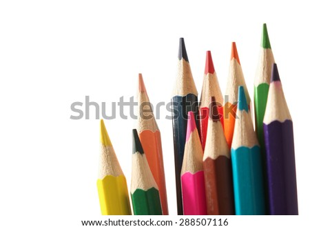 Color pencils are isolated on the white background. - stock photo