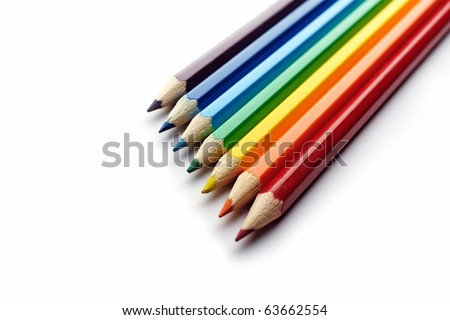 Color Pencils Arranged In Rainbow Spectrum Order Isolated On White Background