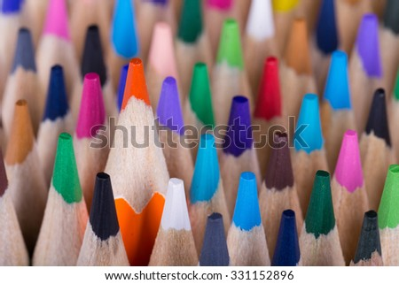 Color pencils background. close up of pencil color.colorful.rainbow. - stock photo