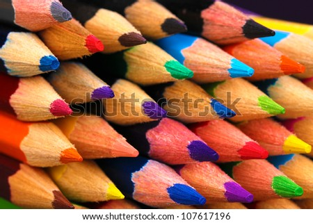 Color pencils close-up - stock photo