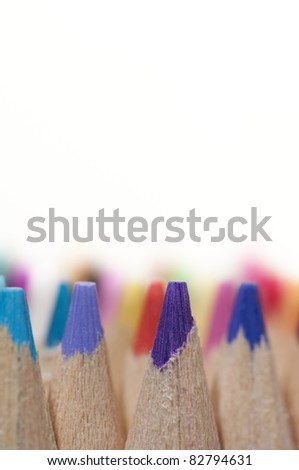 Color pencils Close-Up on white background - stock photo