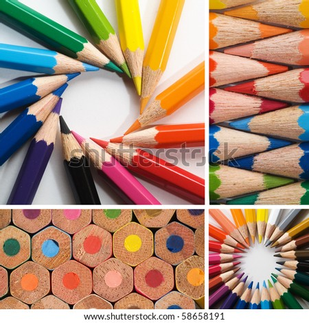 color pencils, collage - stock photo