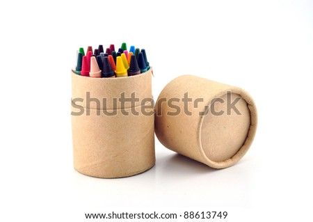 color pencils in cardboard box - stock photo