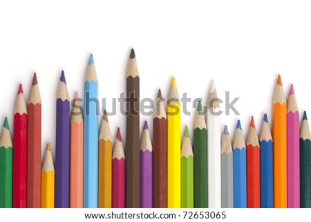 color pencils in white background