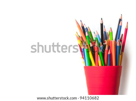 color pencils isolated image over white background
