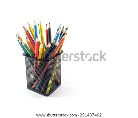 Color pencils isolated on white background, selective focus - stock photo