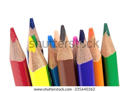 Color pencils on white background - macro image