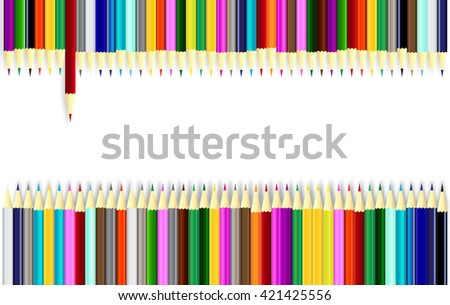 color pencils on white background with top roll and bottom roll of pencils, illustration - stock photo