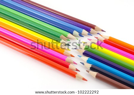 Color pencils over white