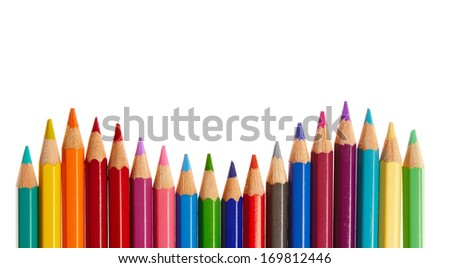 Color pencils wave - stock photo