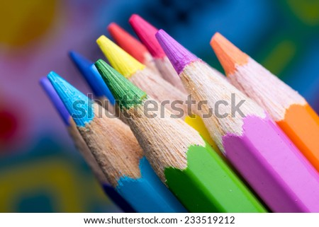 Color Pencils with colorful background - stock photo