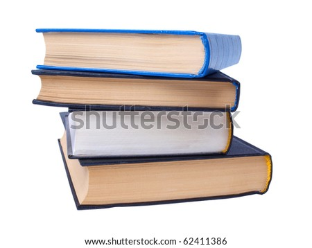 Color photo of a big stack of books on white background - stock photo
