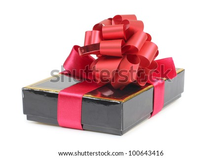 Color photo of a black box and ribbon