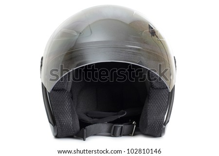 Color photo of a black protective helmet - stock photo