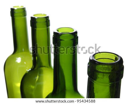 Color photo of a glass bottles with a white background