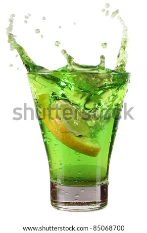 Color photo of a glass cup with a cocktail - stock photo