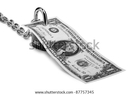 Color photo of a metal padlock and dollar