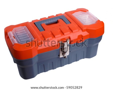 Color photo of a plastic toolbox on white background - stock photo