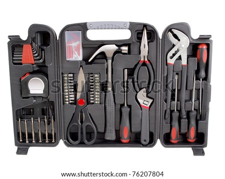 Color photo of a suitcase with work tools - stock photo