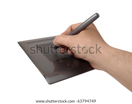Color photo of an electronic tablet and a human hand