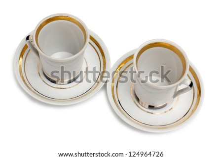 Color photo of china cups of coffee