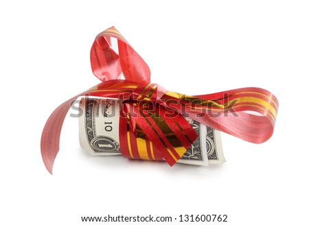 Color photo paper money and red tape