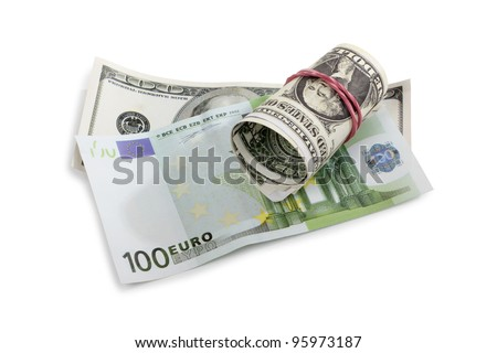 Color photo paper money on white background
