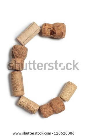 Color photograph letter of alphabet in wine corks - stock photo