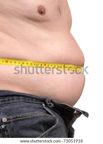 Color photograph measuring male abdomen - stock photo