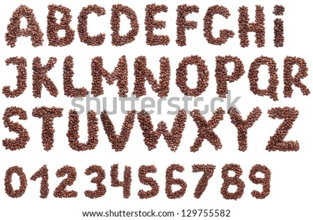 Color photograph of alphabet letter of coffee - stock photo